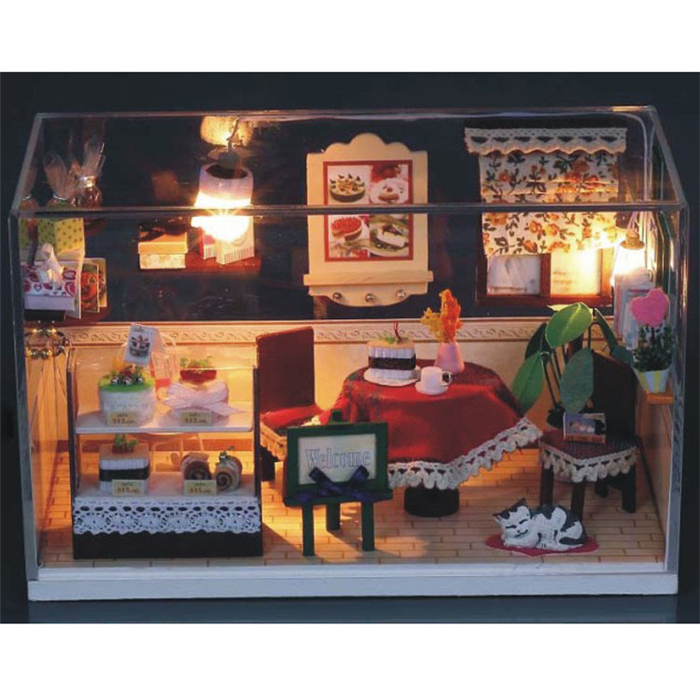 Merry Christmas DIY Furniture Dollhouse With LED Light Birthday Gift Model Assemble Miniature Wooden Doll House