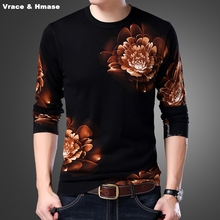 Chinese style exquisite 3D floral pattern fashion casual knitted sweater Autumn 2019 New arrival quality sweater men pull homme
