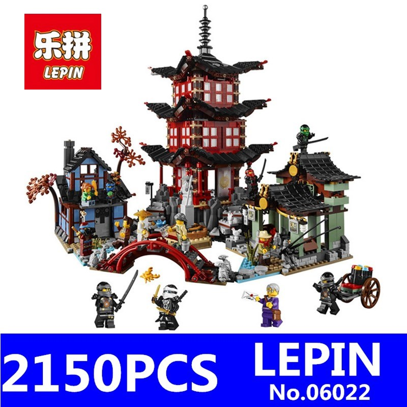 Ninja Temple of Airjitzu Model LEPIN 06022 2150Pcs Building Kits Blocks Jay Kai Cole Bricks Compatible Children Toys Model Gift lepin 22001 pirate ship imperial warships model building block briks toys gift 1717pcs compatible legoed 10210