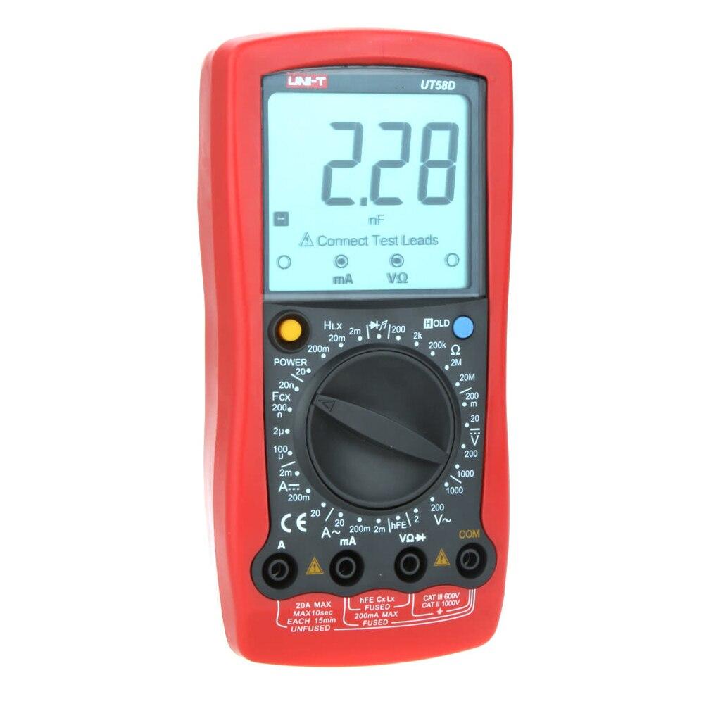 Universal Multimeter UT58D AC/DC Digital Multimeter Volt Amp Ohm Capacitance Inductance Tester high precision digital capacitance inductance meter auto ranging component tester 500kh lc rc oscillation inductance multimeter