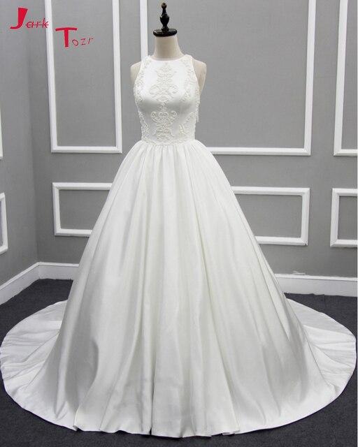 Jark Tozr Robe Mariage Off the Shoulder Beading Tassel Ivory Satin Simple A-line  Wedding 6dc7162dd4f5
