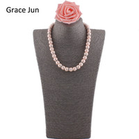 High Quality Handmade Big Pink Color Matte Simulated Pearl Necklace Charm S925 Sterling Silver Plum Buckle