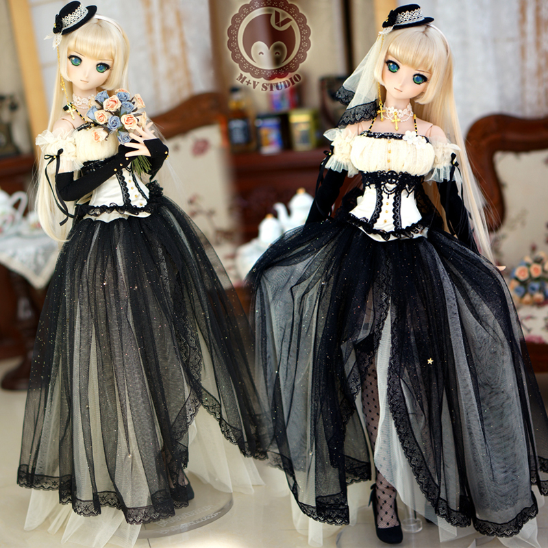 [Agent]NEW Black Wedding dress Dresses formal Attire 1/3 SD SD13 SD10 DD SD16 BJD Doll Clothes free match stockings for bjd 1 6 1 4 1 3 sd16 dd sd luts dz as dod doll clothes accessories sk1