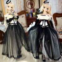 [Agent]NEW Black Wedding dress Dresses formal Attire 1/3 SD SD13 SD10 DD SD16 BJD Doll Clothes