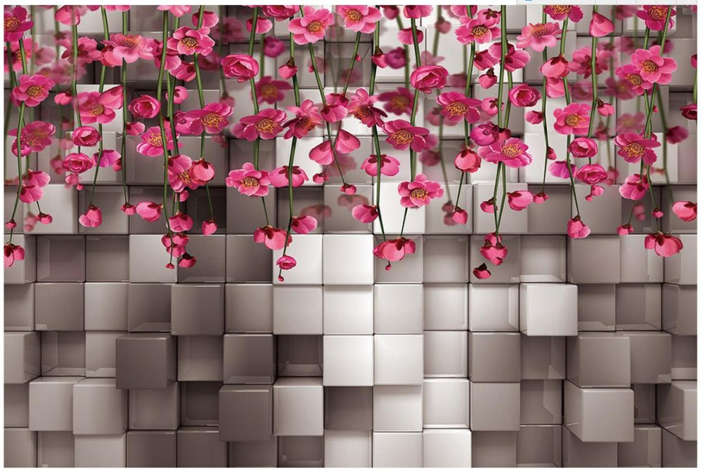 3d Three Dimensional Black And White Squares Of Red Flower Vine Wall Mural Photo Wallpaper Bathroom In Wallpapers From Home Improvement On