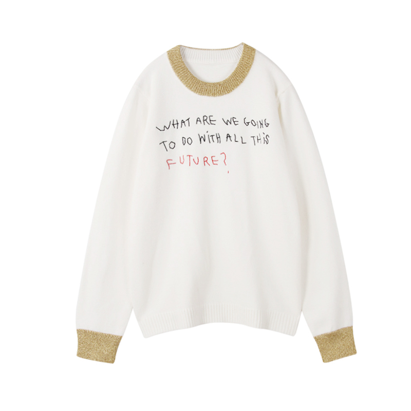 Ky&Q Letters Embroidery Wool Sweater Women 2017 New Winter Korea Sweater Runway Design Gold Silk Patchwork Pullover Knit Jumper