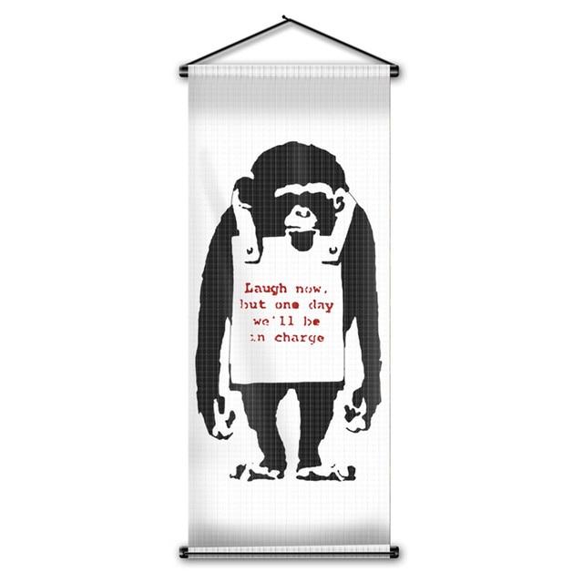 Custom Printing In Charge Monkey Chimpanzee Flag Home Decor Hanging
