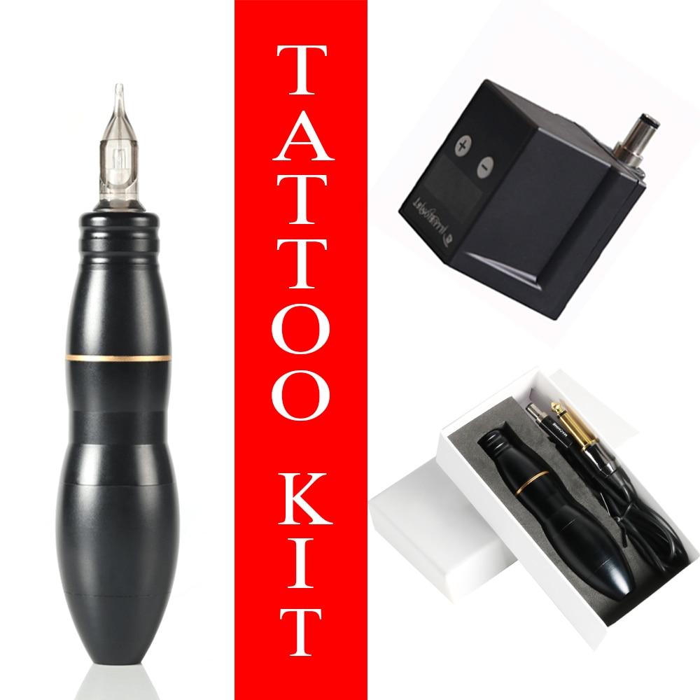 Kit de tatouage complet ensemble professionnel automatique moteur rotatif Machine stylo Mini-sans fil tatouage alimentation aiguille intégrative