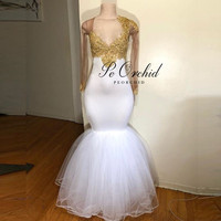 PEORCHID African Long Sleeve Mermaid Prom Dresses White And Gold Lace Floor Length Black Girl Evening Dress Party Woman 2019 New