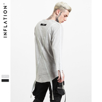 INFLATION 2017 Autumn Mens Streetwear Thirts Raw Edge Organic Cotton Printing Ribbon Highstreet Long Sleeve T