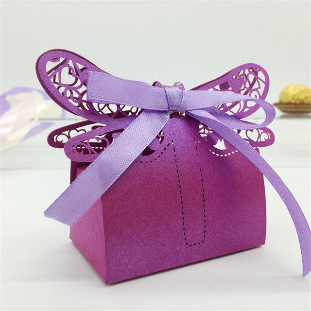 43 Color 120PCS Laser Cut Dragonfly Lover Heart Candy Boxes Baby Shower  Souvenirs Centerpieces Wedding Favors