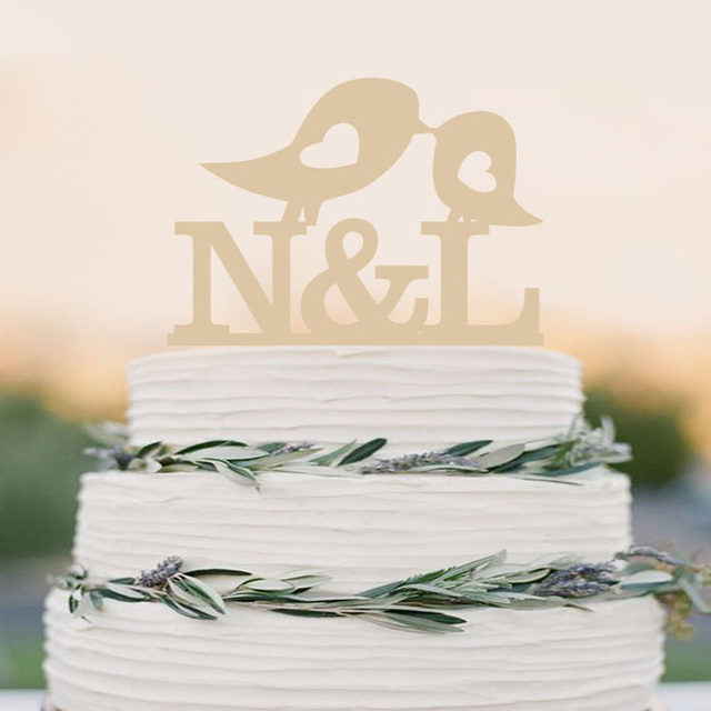 Love Birds Wedding Cake Topper, Custom Wooden Cake Toppers,Personalized  Initials Wedding Cake Toppers,Elegant Wedding