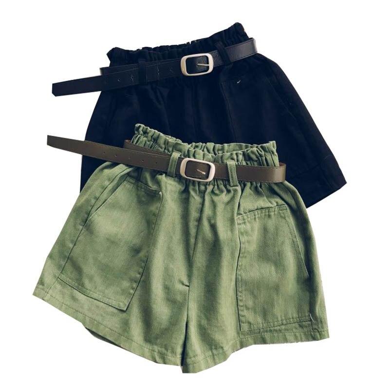 NiceMix High Waist Elasticity Shorts Women Fashion Cool Punk Sashes Short Pants Breathable Fashion Loose Elastic Waist Shorts