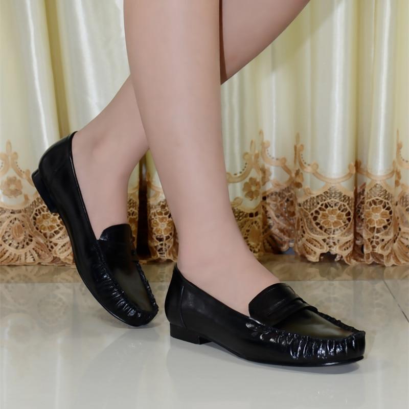 Aliexpress.com : Buy women's flat shoes genuine leather low heels ...