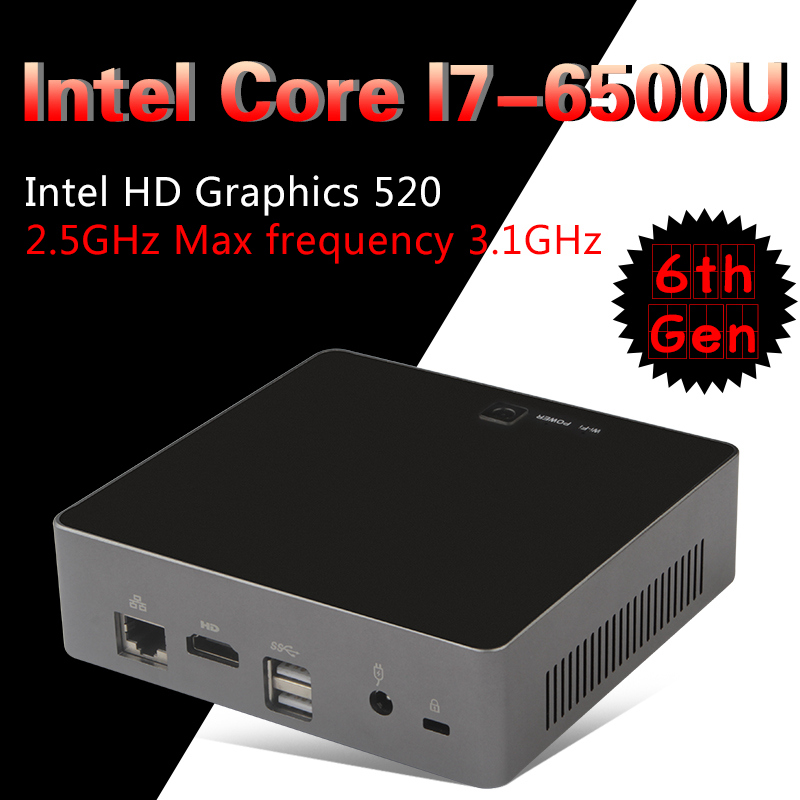Intel I7 6500U Mini PC Windows 10 Desktop Computer NUC Pocket PC barebone system Nettop Skylake