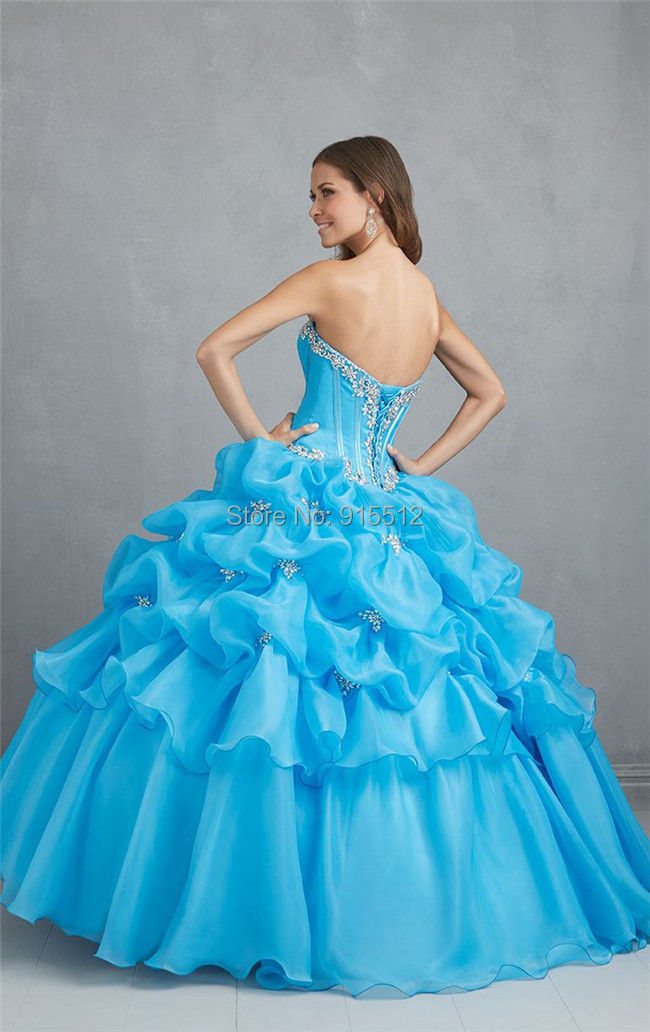New Gorgeous 18 Years Girl Sweetheart Neckline Crystals Ball Gown