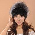 Горячие продажи реального норки меховая шапка для зимы женщин трикотажные норки шляпа шапочки шапка с лисой меха помпонами женщины cap
