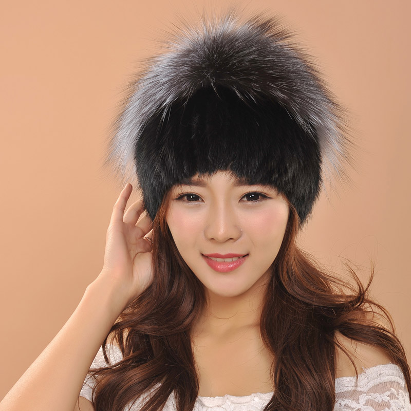 Hot sale real mink fur hat for women winter knitted mink fur hat beanies cap with fox fur pompoms female cap
