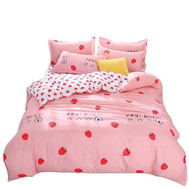 4pcs Kawaii Strawberry Pink Queen Size Bedding Set  1