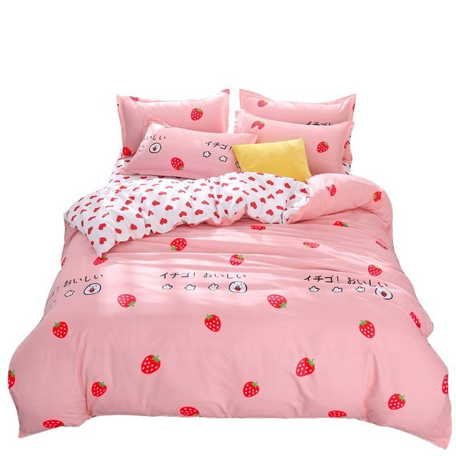 4pcs Pink Strawberry kawaii Bedding Set Luxury Queen Size Bed Sheets Children Quilt Soft Comforter Cotton Bedding Sets For Girl