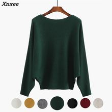 Winter Batwing Sweater Female Bat Jersey Oversized Green Jumper Women Knitted Ribbed Sweaters Ladies Tops 7 Color