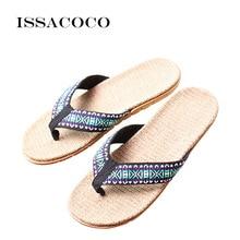 hot deal buy issacoco men's summer flat totem linen flip flops indoor eva hemp flax slippers men's house slippers beach slides flip flops hot