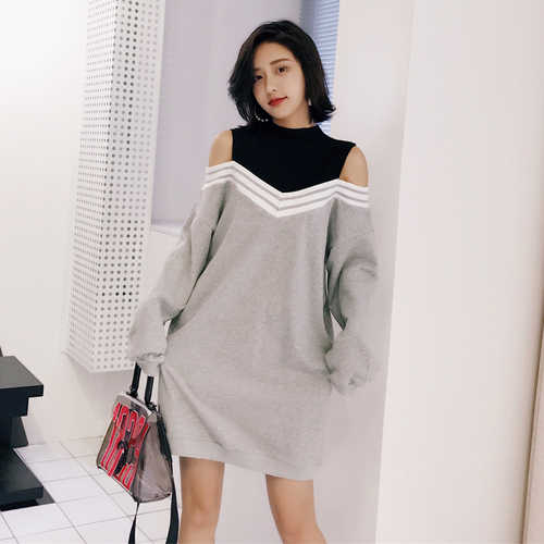 bc6b59f4da6 Winter Dress Women 2018 Korean Style Casual Striped Patchwork Fake Two Piece  Long Sleeve Hollow Out