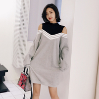 Winter Dress Women 2018 Korean Style Casual Striped Patchwork Fake Two Piece Long Sleeve Hollow Out Off Shoulder Dress Gray D206