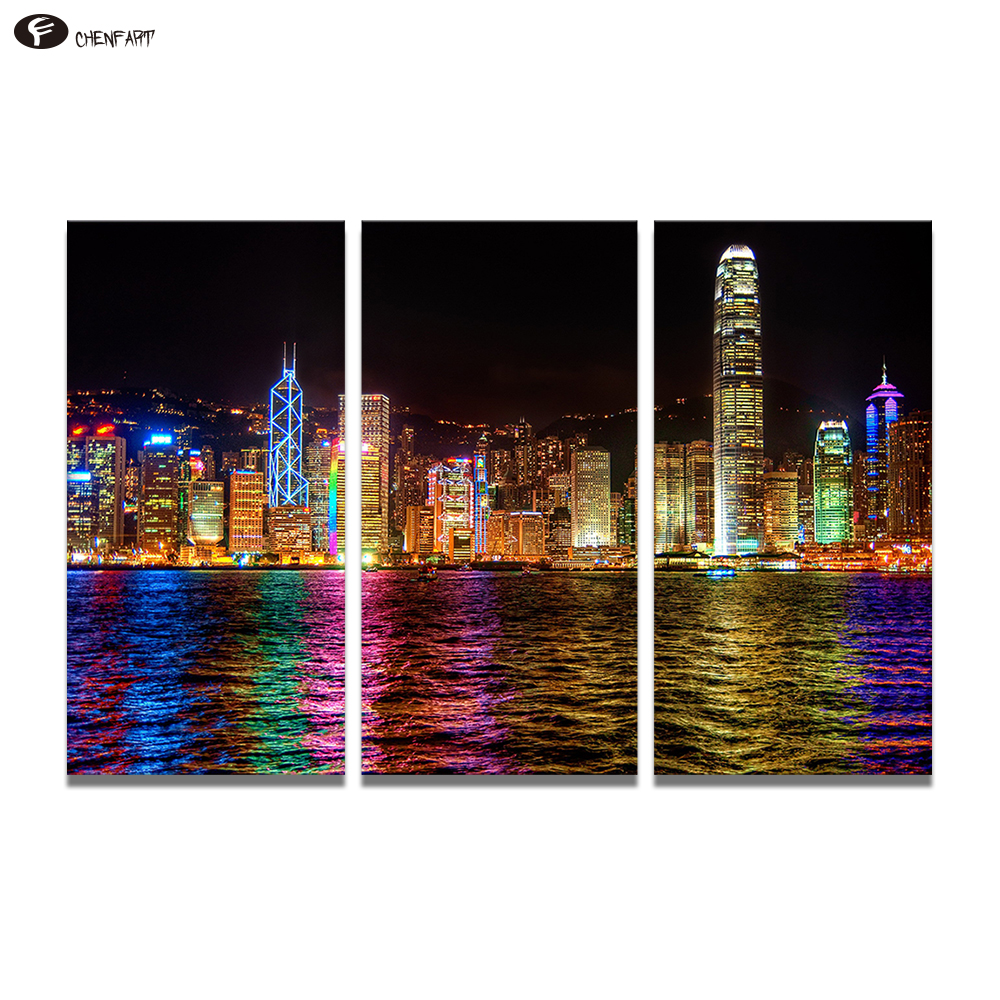 CHENFART 3 Pieces Canvas Painting Hong Kong Nightscape
