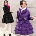 Nuevo abrigo de invierno del collar del soporte de Corea del espesamiento delgado de la cintura Princesa de Las Muchachas mullidas Falda chaqueta de La Chaqueta abajo