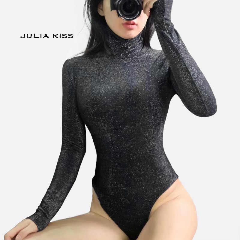 Женская водолазка Блестящий боди с длинным рукавом сексуальный блестящий боди