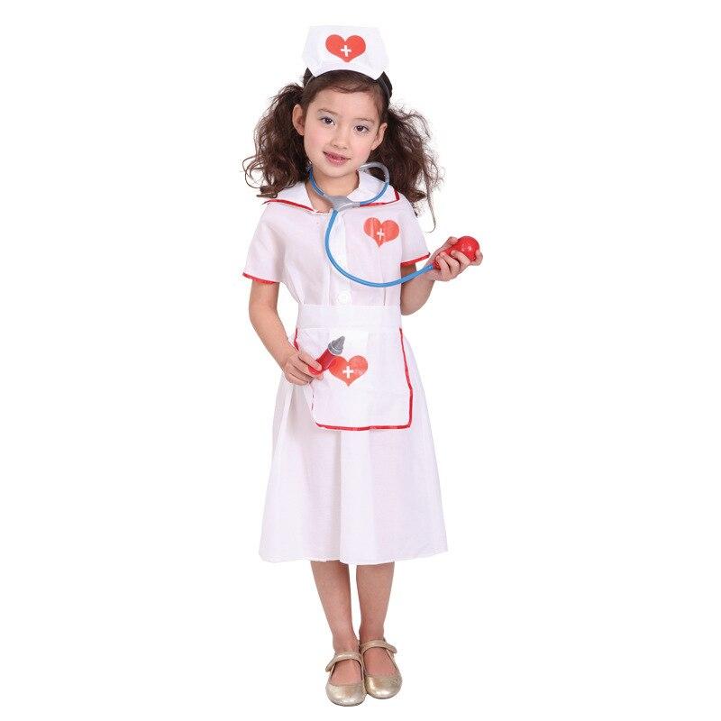Free shipping Hot Sell Childrens Girls Dress Up Nurse Uniform Outfit Girls Fancy Dress Up Doctors & Nurses Child Kids Costume