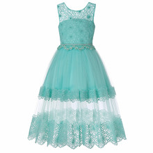 5-14 Years Kids Dress for Girl Wedding Tulle Lace Long Dresses Elegant Princess Party Pageant Formal Gown for Teen Children 2019 kids girls elegant wedding flower girl dress princess party pageant formal sleeveless lace tulle dress 2 14 years vestidos nina