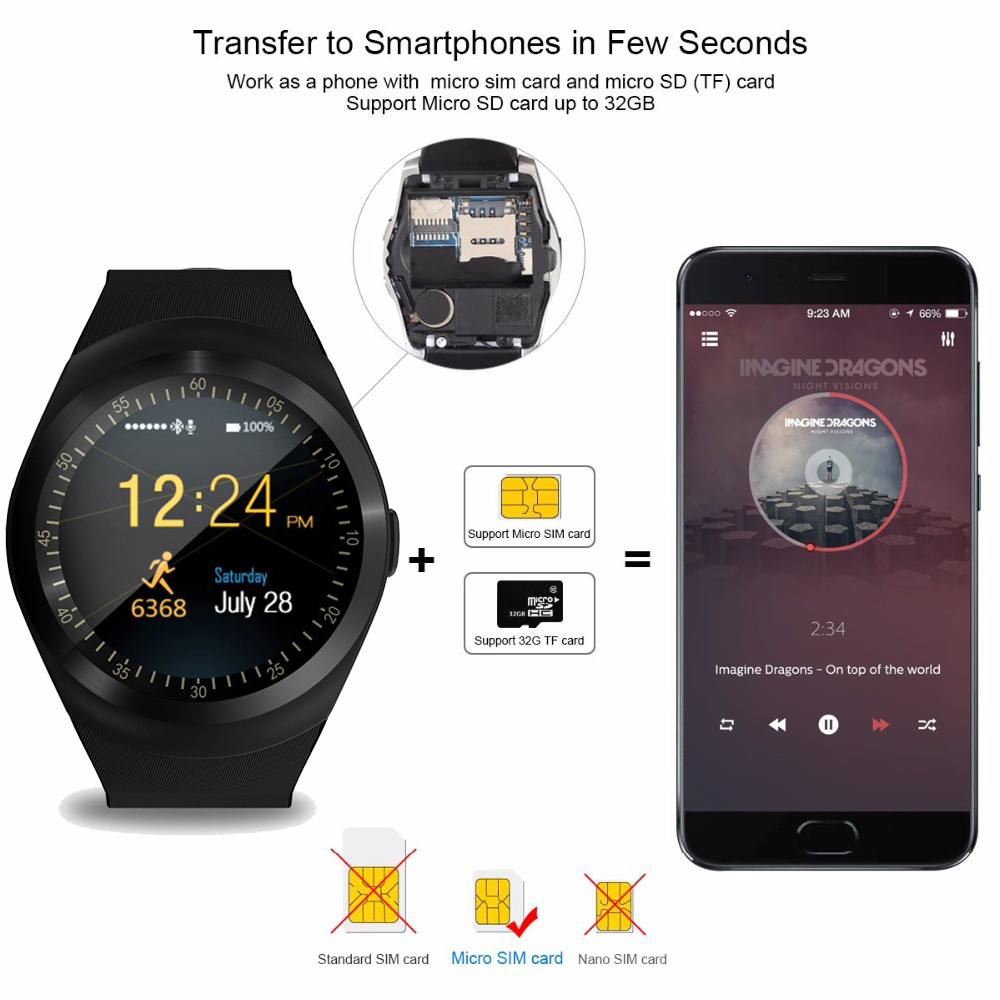 Image 3 - Bluetooth Smart Watch Phone Mate Round Screen Smartphone SIM Call Dial Pedometer Smartwatch for Android IOS reloj inteligente-in Smart Watches from Consumer Electronics