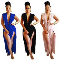 Jumpsuit Plus Size Woman Body Top Bandage Overalls For Women falbala backless Sexy Bodysuit V Neck jumpsuits Club Tuinbroek Ropa