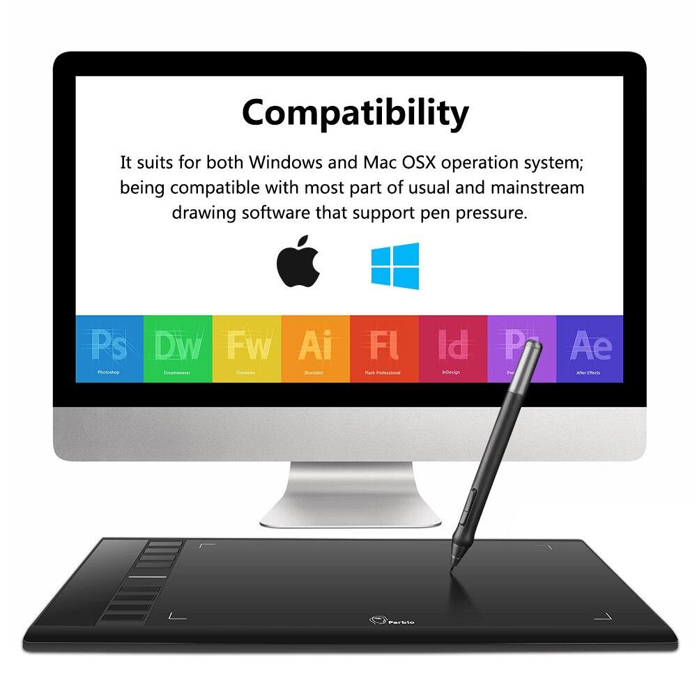 Parblo A610 tablette numérique graphique dessin tablette Pad avec stylo 2048 niveau stylo numérique + gant Anti-salissure comme cadeau - 4