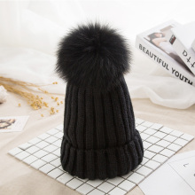 2019 Winter Knitted Beanies Hat Women Pom Poms  Hats For Women Real Fox Fur Ball Cap Girl 's Hat  Brand New Thick Female Cap цена