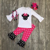Spring Baby Girls Mouse Hot Pink Polka Dot Children Clothes Boutique Outfits With Match Accessories Long