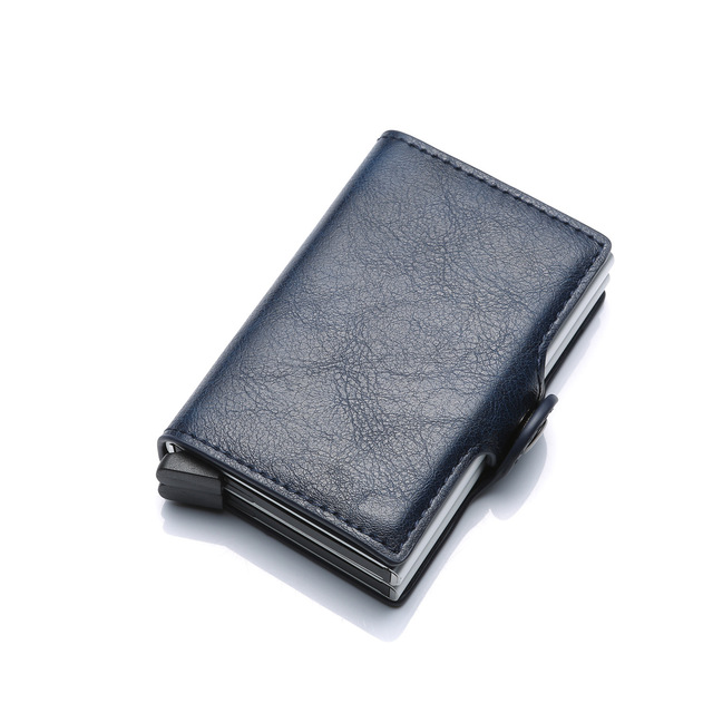 RFID Men's Leather ID Credit Card Holder Male Automatic Aluminum Alloy Hasp Business Double Layer Cardholder Wallet for Man
