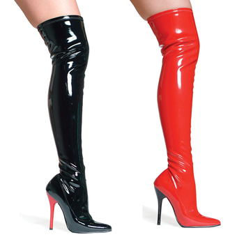 Women Thigh Long Boots Black Shoes 12cm High Heels Sexy Patent Leather Over Knee Fenty Beauty Boots Zip Ladies Shoes Big Size 46