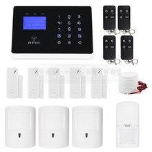 APP Controlado DIYSECUR Conexiones Inalámbricas y Cableadas Zonas de Defensa GSM Marcado Automático Seguridad Para El Hogar Sistema de Alarma + Admite Mascotas PIR + RFID