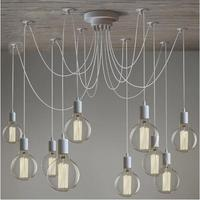 Modern White/Black Lustre chandeliers 6 16 Arms Retro Adjustable Edison Bulb Lamp E27 Art Spider Ceiling luminaire Fixture