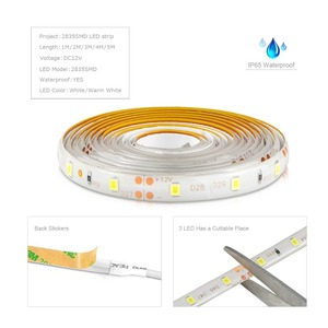 Image 3 - 12V 2835 Dimmable LED Strip lamp Waterproof  1M 2M 3M 4M 5M Kitchen Cabinet lighting With RF Dimmer 110V 220V EU US Power Supply