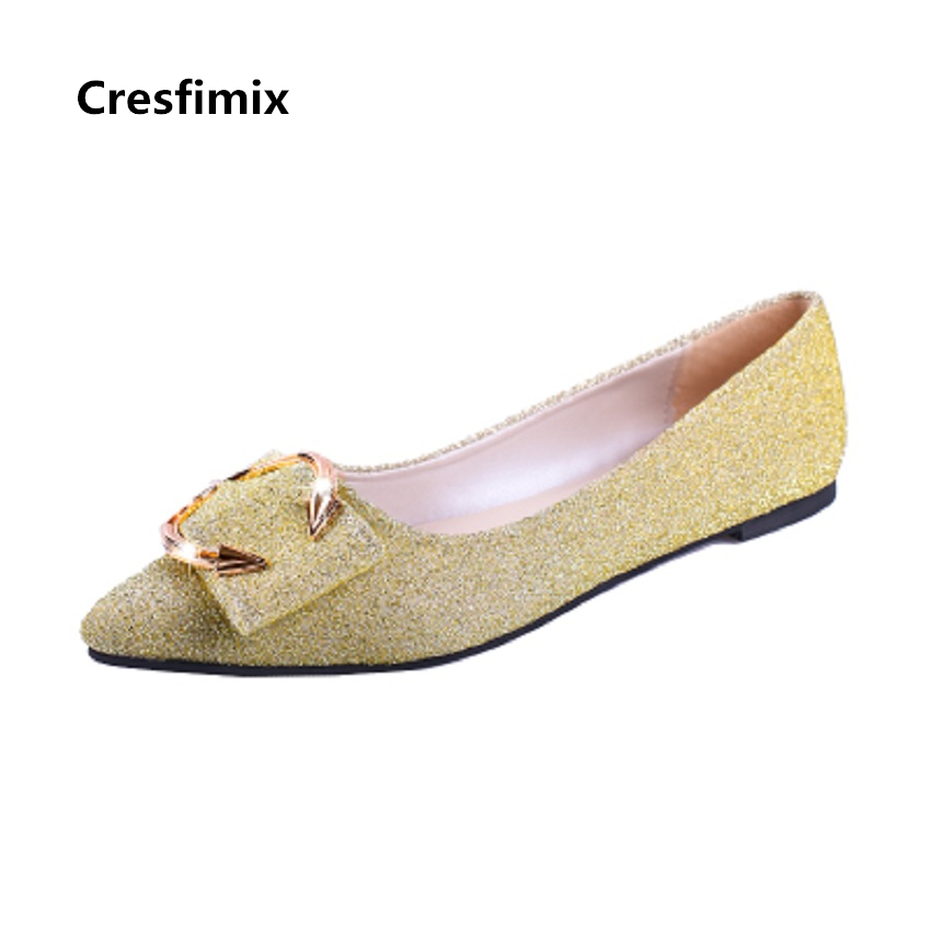 Cresfimix chaussures plates pour femmes women fashion golden & silver summer flat shoes lady cute pointed toe sexy & cute shoes