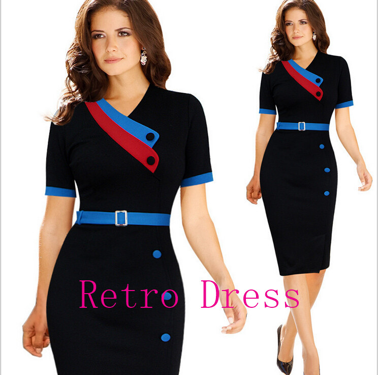 Dark Blue Garment Women Elegant Belted Short Sleeve Office Wear to Work Formal Prom Evening Party Bodycon Dresses For Ladies