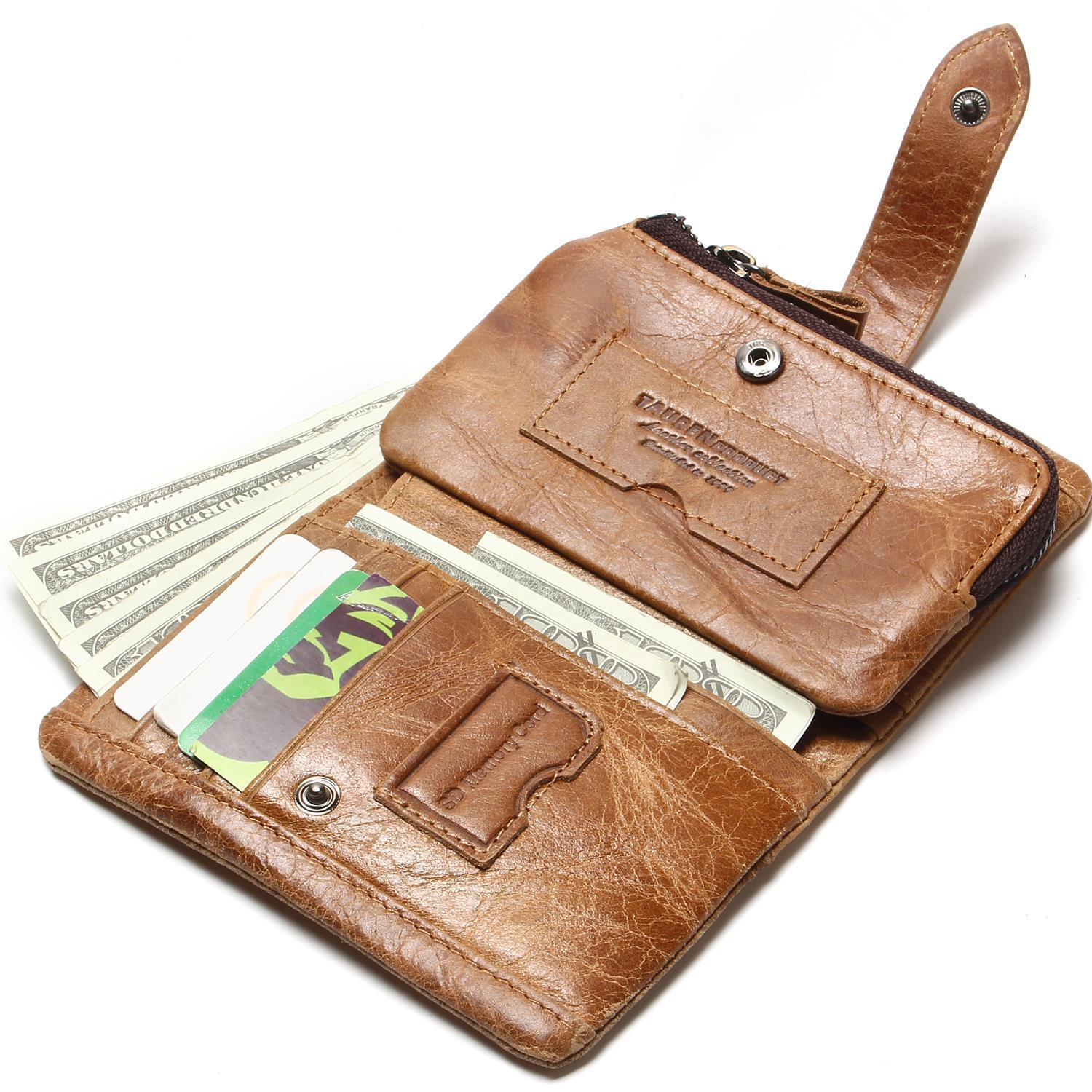 couro carteiras de couro estilo Trending : Womens Oil Wax Wallet Men Zipper Genuine Leather