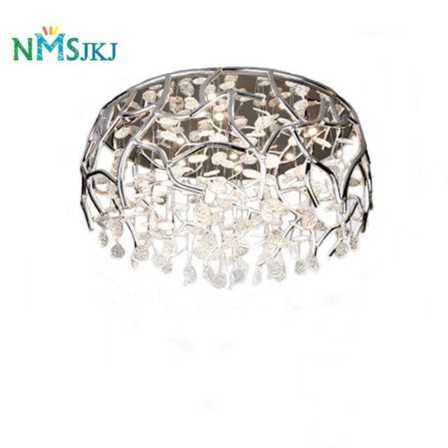 Abat Jour Romantique Chambre européenne creux circulaire argent en aluminium cristal verre pétale