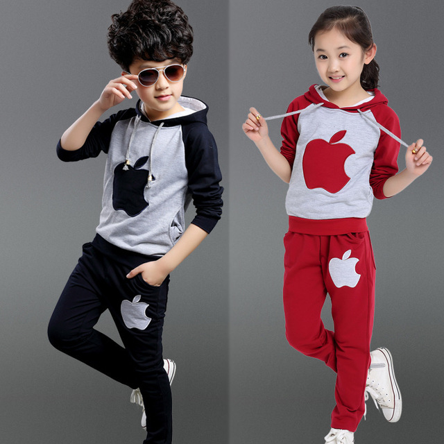 b46640725e401 high quality kids clothes brands girl boys apple designer sport hooded  jacket and pants children clothing set girls boy costumes