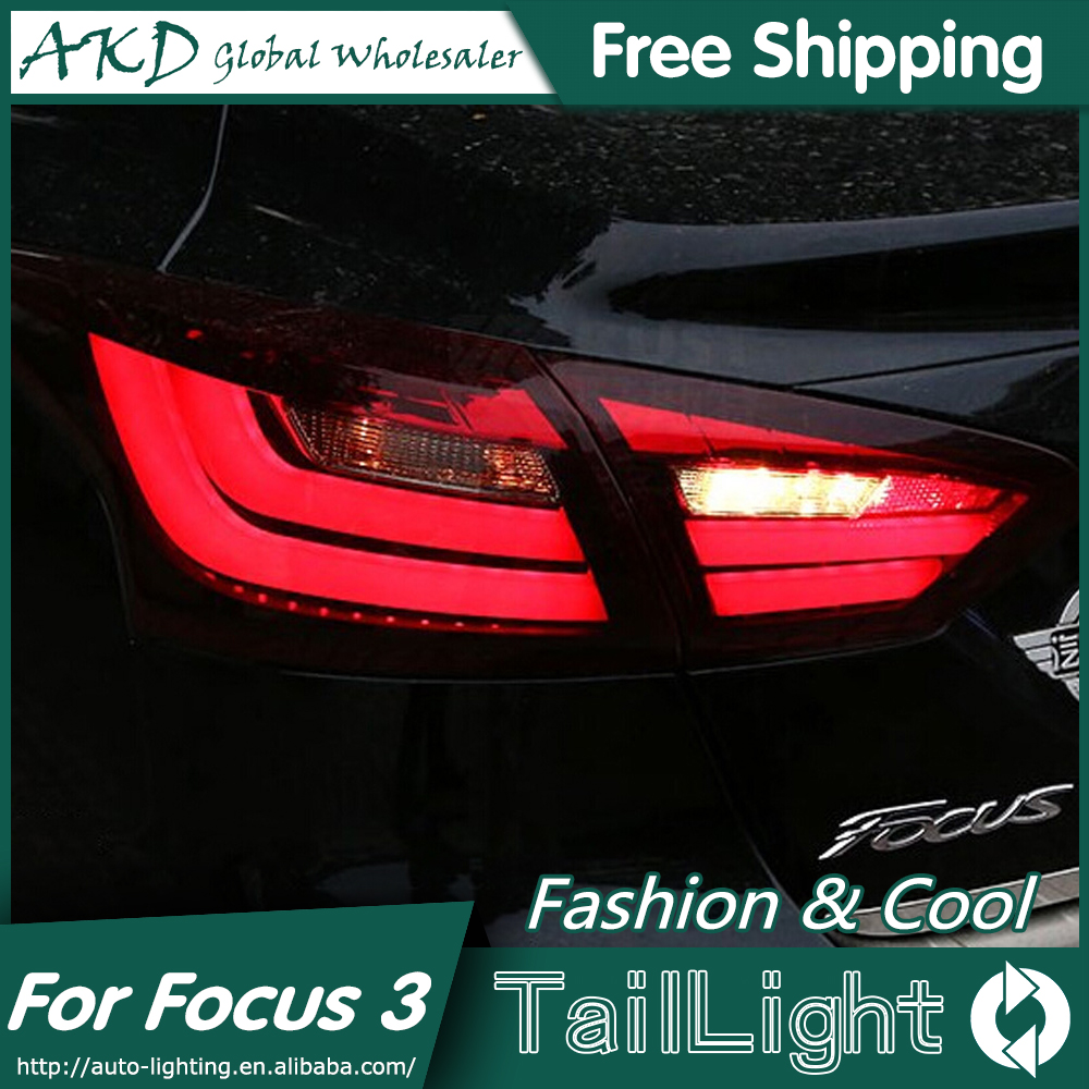 AKD Car Styling for Ford Focus Sedan Tail Lights 2012-2014 New Focus LED Tail Light Rear Lamp DRL+Brake+Park+Signal