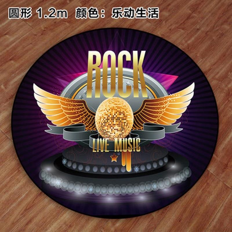 Tapis de tambour dédié antidérapant insonorisé musique Rock tapis de sol rond de bande dessinée
